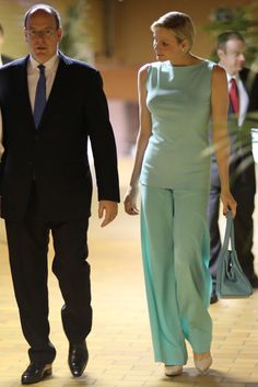 Royal life going swimmingly for Princess Charlene - love her turquoise outfit.  Do you like it too?