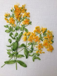 Botanical Collection, St John's wort or Hypericum, Ribbon Embroidery