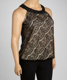 Nude & Black Lace Overlay Yoke Top - Plus   Daily deals for moms, babies and kids