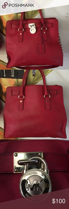 Micheal Kors Handbag Large red Micheal kits Hamilton Bag.  Some wear good condition MICHAEL Michael Kors Bags Shoulder Bags