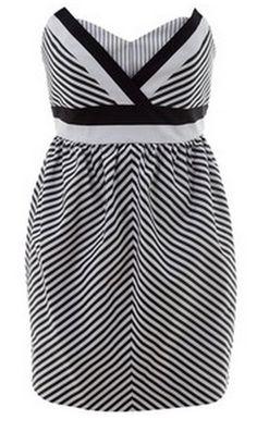 Alice + Olivia Black and White Striped Strapless Dress
