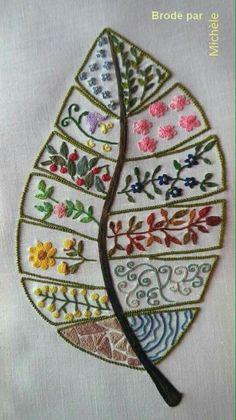 Leaf Outline Sampler or Stitchbook Page