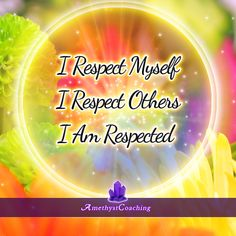 Today's Affirmation: I Respect Myself, I Respect Others, I Am Respected <3 #affirmation #coaching It is not enough just to repeat words, while repeating the affirmation, feel and believe that the situation is already real. This will put more energy into the affirmation.