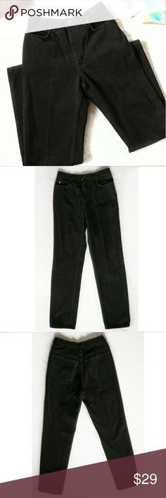 """Vintage Black High Waisted Mom Jeans Denim Pants Vintage jeans by Land's End.  It is a high waisted style.  It is an authentically faded black color with some white threads, one shown in the last photo.  It has two front pockets and two back pockets.   It zips and buttons on the front.  If desired, they would also be cute if they were made into cutoff shorts.  Size 6 Approx. Measurements: Waist: 26"""" Rise: 12"""" Inseam: 30.5""""  Keywords: 80s, 1980s style, 80's, 1980's, 90s, 90's grungy, witchy…"""