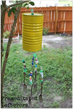 These upcycled wind chimes are a fun, frugal craft idea for kids and a great way to recycle unneeded items around the house.
