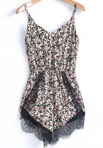 Pink Spaghetti Strap Floral Lace Jumpsuit