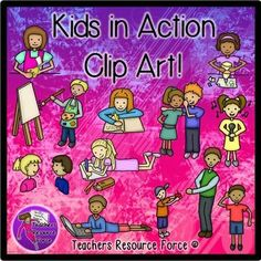 Kids in Action Clip Art - Color &  black line. Looking for some clip art of children in action in the classroom? These are great for teaching verbs in a fun and cute way! These would be great for making creating flash cards for your ELL, ESL students too: the uses are endless!