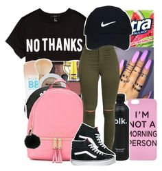 """I'm at work so tired rn."" by youngfashionaddict ❤ liked on Polyvore featuring Forever 21, NARS Cosmetics, MICHAEL Michael Kors, Nike Golf and Vans"