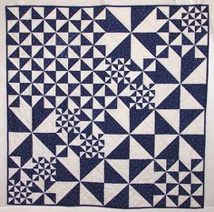Blue Hungarian fabric pinwheel quilt at Orange Explains it All