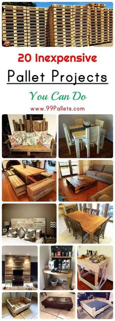 Pallet Furniture Projects 20 Inexpensive Pallet Projects You Can Do Wooden Pallet Projects, Wooden Pallet Furniture, Pallet Crafts, Wooden Pallets, Pallet Ideas, Pallet Wood, Pallet Patio, Pallet Tables, Outdoor Pallet
