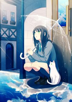 Kirei!! Beautifal, harmonious piece. love the cat, umbrella, and ground's reflection.  (^こ^)