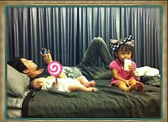 Kim Jae Joong may appear eccentric on the outside but he is really down to earth.  Kicking back with his nieces.