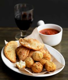 Gourmet Traveller WINE Spanish tapas recipe for salt cod croquettes with spicy tomato sauce.