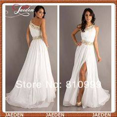 PP061 Free Shipping One Shoulder White Elegant Prom Dress Sparkling Waist Sexy Side Slit Long Evening Dresses 2014 Custom $129.09