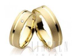6a9ea86d750bb Par de alianças em ouro 18k com diamante Aliança Simples