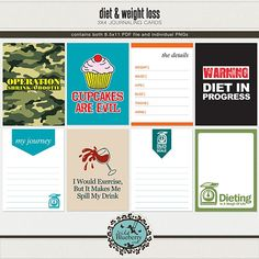 Diet & Weight Loss journaling cards freebie from Wild Blueberry Ink