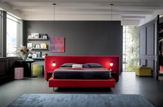 BOLTON XL, letto dalla testiera extra large ideale a centro stanza Contemporary Interior Design, Grey Paint, Double Beds, Painting On Wood, Upholstery, Cool Stuff, Modern, Furniture, Home Decor