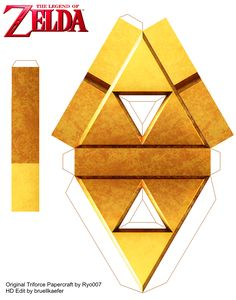Triforce Papercraft by updated be me by Bruellkaefer on DeviantArt 7th Birthday Boys, Zelda Birthday, Paper Toys, Paper Crafts, Super Mario Coloring Pages, Origami Love, Legend Of Zelda Breath, Shaped Cards, Do It Yourself Crafts