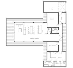 Contemporary home plan to wide lot. Full wall height windows, abundance of natural light, three bedrooms.