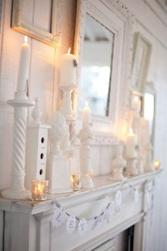 Stunning White on White on White Mantle Display For A Vintage Feel.