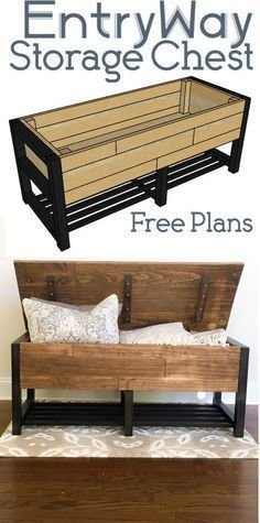 Entry Way Storage Bench - Woodworking Plans - Home #WoodworkingPatternFurniture #woodworkingbench #homewoodworkingshop