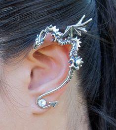 Silver Classic Dragon Ear Wrap by martymagic on Etsy, $139.00