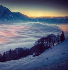 Venus and Moon over Switzerland photographed by David Kaplan