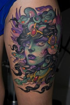 tattoopoo: libertinagens: by Victor Chil Holy shit I love this i fucking love medusa tattoos and this one is excellent. the green and purple go so nicely together