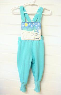 Vintage vêtements de bébé, bébé garçon salopette, salopettes W/Rennes de Noël et l