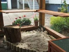 Sand digging pit in an outdoor rabbit enclosure Aussenhaltung Rabbit Shed, Rabbit Run, House Rabbit, Rabbit Toys, Rabbit Life, Rabbit Garden, Bunny Cages, Rabbit Cages, Rabbit Habitat