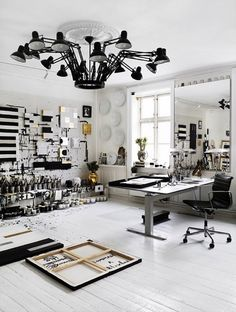 Check out the light fixture! Can reposition any lamp as needed. (black & white art studio; Photographer Idha Lindhag)