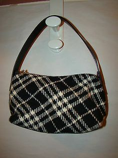 Authentic Burberry Black White Plaid Wool Leather Hobo Bag Purse | eBay