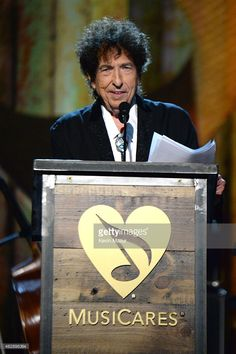 Feb 26,2015 Bob Dylan speaks onstage at the 25th anniversary MusiCares 2015 Person Of The Year Gala honoring Bob Dylan at the Los Angeles Convention Center on February 6, 2015 in Los Angeles, California. The annual benefit raises critical funds for MusiCares' Emergency Financial Assistance and Addiction Recovery programs. For more information visit musicares.org.
