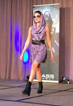 BioWare Fashion show: Mass Effect - Tali print infinity scarf & skater dress #geekfashion