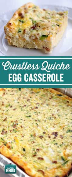 Crustless Quiche Egg Casserole - Real Life Dinner - My go to Breakfast for Dinner Egg Casserole Recipe. So Easy and versatile, it's like a Quiche wit - Egg Recipes For Dinner, Healthy Egg Recipes, Healthy Casserole Recipes, Quiche Recipes, Dinner Dishes, Breakfast Recipes, Thm Recipes, Eat Healthy, Brunch Egg Casserole