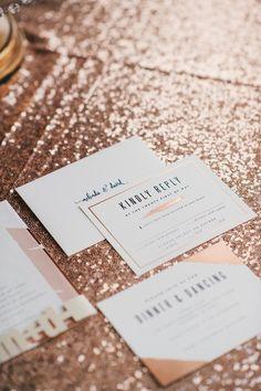 featured photographer: Still55 Photography; Modern wedding invitation idea