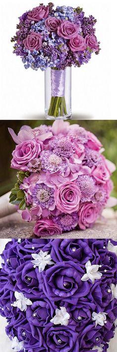 Wedding flowers purple roses