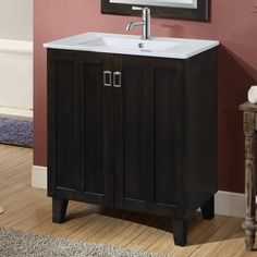 Solid Wood Sink Vanity with Ceramic SinkThis single sink vanity will update the decor of any bathroom. It features a ceramic sink-top and double door design with fashionable drop handles. 24 Inch Bathroom Vanity, Best Bathroom Vanities, Single Sink Bathroom Vanity, Bathroom Vanity Lighting, Vanity Sink, Bathroom Ideas, Bath Ideas, Small Bathroom, Vanity Decor