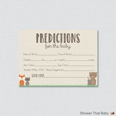 Woodland Baby Shower Prediction Cards Printable - Instant Download - Baby Statistics Game Guess Baby's Birthday, Weight, etc - Woodland 0010