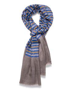 Marino-Silk Blend Banded Scarf in Blue, Grey & Yellow - Qind Design Blanket Scarf, Grey Yellow, Scarves, Silk, Band, Stuff To Buy, Design, Fashion, Scarfs