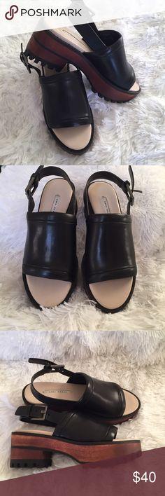 Zara Woman leather sandals Zara Woman. Black leather and wood platform sling back sandals. zara woman Shoes Sandals