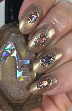 ehmkay nails: Alter Ego Taupiarist with Born Pretty Rhinestone Stickers. Use PDX31 for 10% off Born Pretty Orders