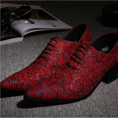 Pointed Toe Lace Up Men Luxury Genuine Leather Red Wedding Shoes Men's High Heels Party Dress Shoes Print Flowers Fashion Shoes Leather And Lace, Leather Men, Leather Shoes, Suede Leather, Leather Flowers, Real Leather, Formal Shoes, Casual Shoes, Formal Dress