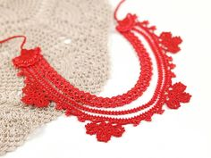 Necklace-Bohemian Red Floral Beaded Crochet Handmade Necklace, Floral Ethnic Lace Necklace, Fiber Jewelry, Turkish Oya, Collar Necklace ALL Pinara Design jewelries are INCREDIBLY lightweight!! You wont even know youre wearing them (except youll look AMAZING)!!!! For all my designs, I