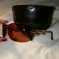 Closet Closed- Out of town  Gucci LT Brown w/Gold Horsebit Detail Sunglasses. These sunglasses are Absolutely Gorgeous!  There are no scratches, markings or imperfections at all! They look to be Virtually brand new,   They will come with a Black leather fold over case. Gucci Accessories Sunglasses