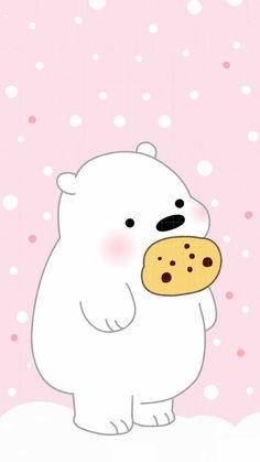 This polar bear likes him some cookies Whats Wallpaper, Cute Panda Wallpaper, Kawaii Wallpaper, Cute Wallpaper Backgrounds, Wallpaper Iphone Cute, Polar Bear Wallpaper, We Bare Bears Wallpapers, Panda Wallpapers, Cute Cartoon Wallpapers