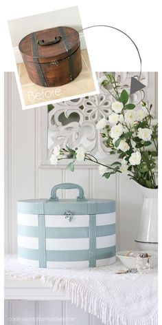 Thrift Store Hatbox Makeover - Christy K. James @ Confessions of a Serial Do-it-Yourselfer - Thrift Store Crafts Upcycled Home Decor, Upcycled Crafts, Diy Home Decor, Diy Crafts, Thrifty Decor, Garden Crafts, Handmade Crafts, Thrift Store Furniture, Thrift Store Crafts
