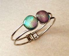 Hinged Bangle Bracelet  Dichroic Glass Bracelet  by 3DGlassDesigns