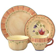 Enhance your dining experience with Pfaltzgraff Napoli 48-piece dinnerware set Casual dinnerware is a subtly decorated hand-painted collectionDinnerware features shades of pale orange, yellow and more