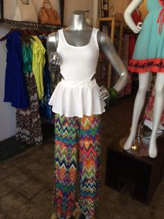 Cut out peplum top in white with print palazzo pant
